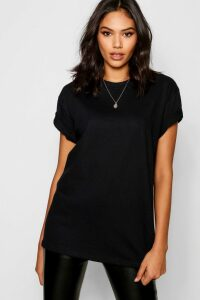 Womens Basic Oversized Boyfriend T-shirt - black - S, Black