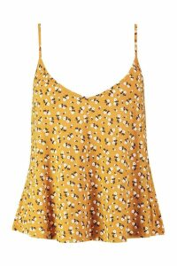 Womens Plus Ditsy Floral Swing Cami - yellow - 20, Yellow