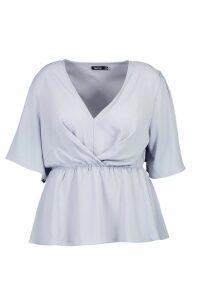 Womens Plus Angel Sleeve Peplum Blouse - dusty blue - 16, Dusty Blue