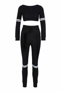 Womens Rib Sports Stripe Lounge Set - black - M/L, Black