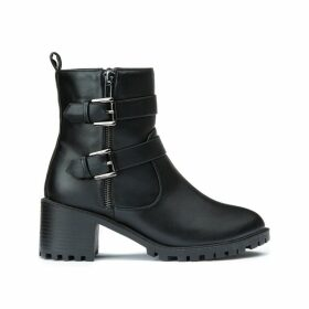 Chunky Heeled Biker Boots with Buckles and Straps