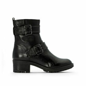 Misa Leather Buckled Boots