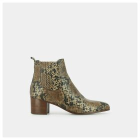 Debina Heeled Ankle Boots in Snakeskin Effect Leather
