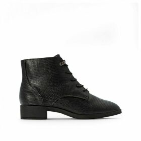 Lizard Effect Ankle Boots with Lace-Up Fastening