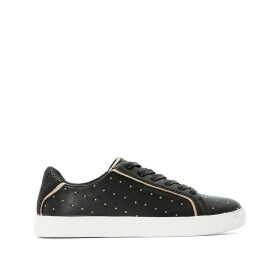 Faux Leather Studded Trainers with Snake Print