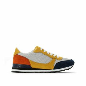Colour Block Faux Suede Trainers with Mesh