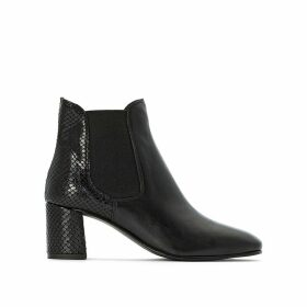 Leather Ankle Chelsea Boots with Snakeskin Detail and Block Heel
