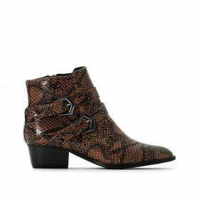 Snake Print Western Ankle Boots with Buckle Detail
