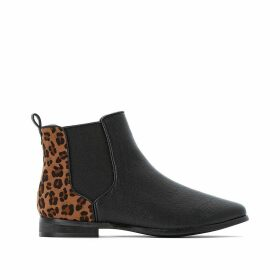 Wide Fit Chelsea Ankle Boots with Leopard Print Back