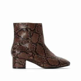 Wide Fit Snake Print Boots with Square Toe