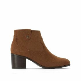 Wide Fit Western Ankle Boots in Faux Suede with Block Heel