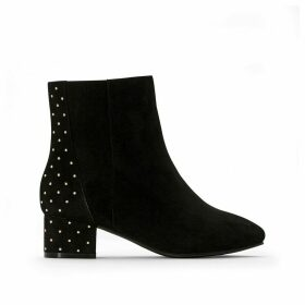 Wide Fit Zipped Studded Ankle Boots with Block Heel
