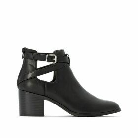 Wide Fit Ankle Boots with Cut-Out Straps