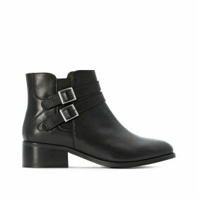 Wide Fit Leather Ankle Boots with Double Buckle and Block Heel