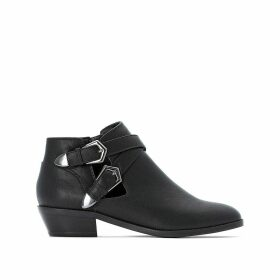 Faux Leather Western Ankle Boots with Cut-Outs and Buckles