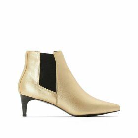 Metallic Ankle Boots with Pointed Toe and Stiletto Heel
