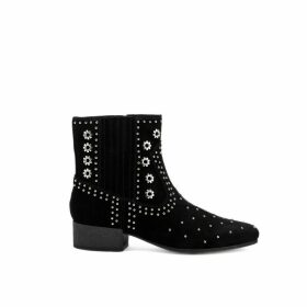Peython Suede Western Ankle Boots with Studs and Block Heel
