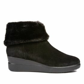 D Stardust Suede Ankle Boots with Wedge Heel and Faux Fur Lining