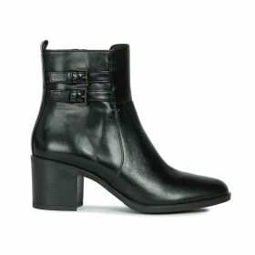 Glynna Leather Ankle Boots with Block Heel and Buckle