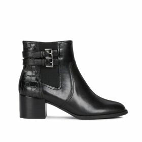 Jacy Leather Ankle Boots with Faux Snakeskin and Block Heel