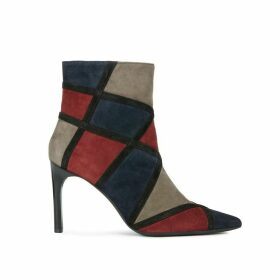 Faviola Suede Patchwork Ankle Boots with High Stiletto Heel
