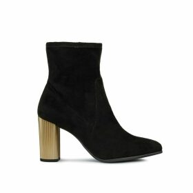 Peython Faux Suede Ankle Boots with Metallic High Heel