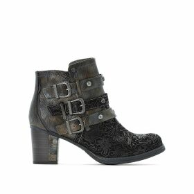 Heeled Buckled Ankle Boots
