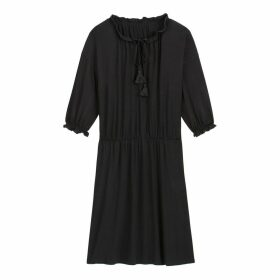 Short Jersey Boho Dress with Tassels