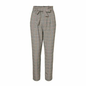 Checked Trousers with Elasticated Waist, Length 30