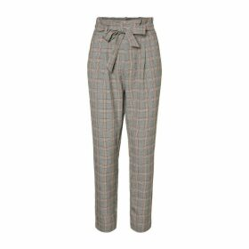 Checked Trousers with Elasticated Waist, Length 32