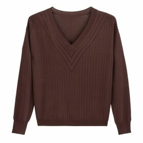 Openwork Fine Knit Jumper with V-Neck