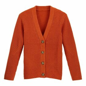 Chunky Knit Ribbed Cardigan with V-Neck and Faux Tortoiseshell Buttons