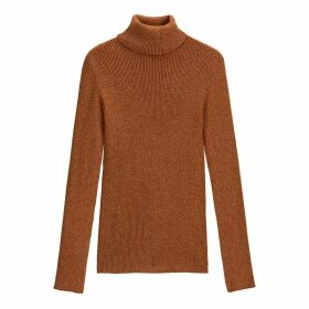 Roll-Neck Jumper in Ribbed Glitter Knit