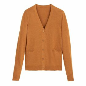 Cotton Mix Buttoned Cardigan with V-Neck and Pockets