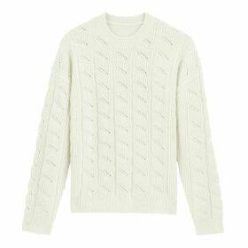 Pointelle Knit Crew-Neck Jumper