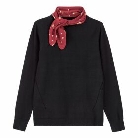 Fine Knit Round Neck Jumper with Scarf
