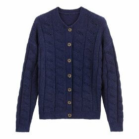 Chunky Pointelle Knit Cardigan with Button Fastening