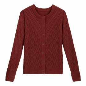 Chunky Pointelle Knit Cardigan with Crew-Neck