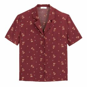 Printed Boxy Bowling Shirt with Short Sleeves