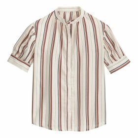Striped Cotton Mandarin-Collar Shirt with Puff Sleeves
