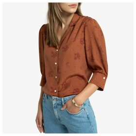 Scarf Print Pyjama Shirt with Elbow-Length Sleeves