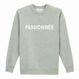 Cotton Mix Sweatshirt with French Slogan