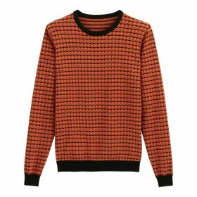 Cotton Jacquard Crew-Neck Jumper
