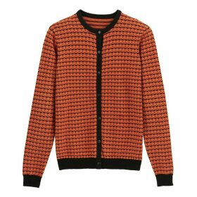Cotton Jacquard Crew-Neck Cardigan