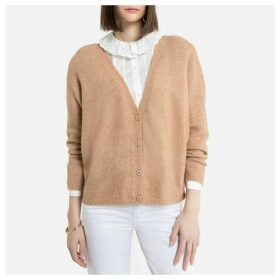 Buttoned Soft Knit Cardigan with V-Neck