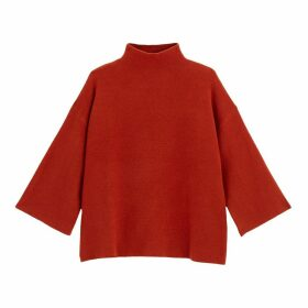High Neck Fine Knit Jumper with Wide Sleeves