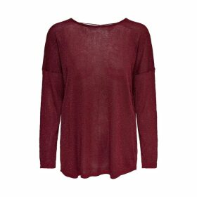 Round Neck Glitter Jumper with Tie-Back