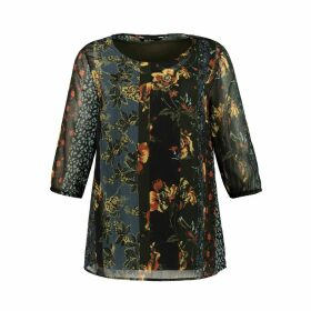 Floral Printed Blouse with 3/4 Length Sleeves