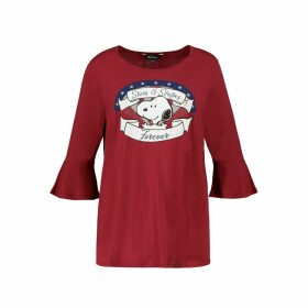 Snoopy Print Cotton-Mix T-Shirt with 3/4 Length Sleeves