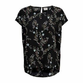 Floral Print Short-Sleeved Blouse